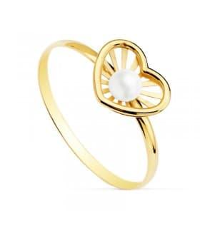Sortija niña 1ª Comunión Chloe Oro 18 Kilates Corazón conjunto joyas juego perlas anillo moderno barato