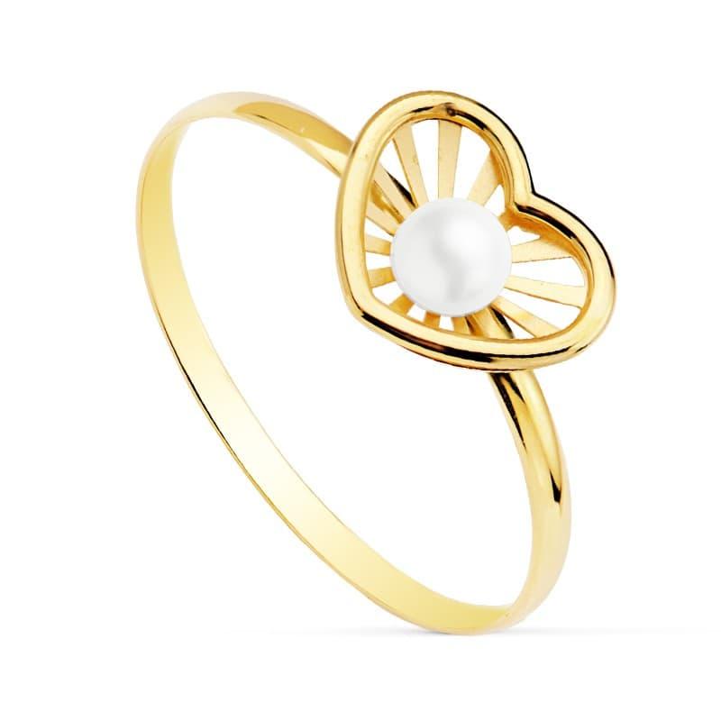 788a64eb8a25 Sortija niña 1ª Comunión Chloe Oro 18 Kilates Corazón conjunto joyas juego  perlas anillo moderno barato