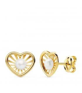 Pendientes modernos niña 1ª Comunión Chloe Oro 18K Corazón conjunto joyas juego perlas baratos
