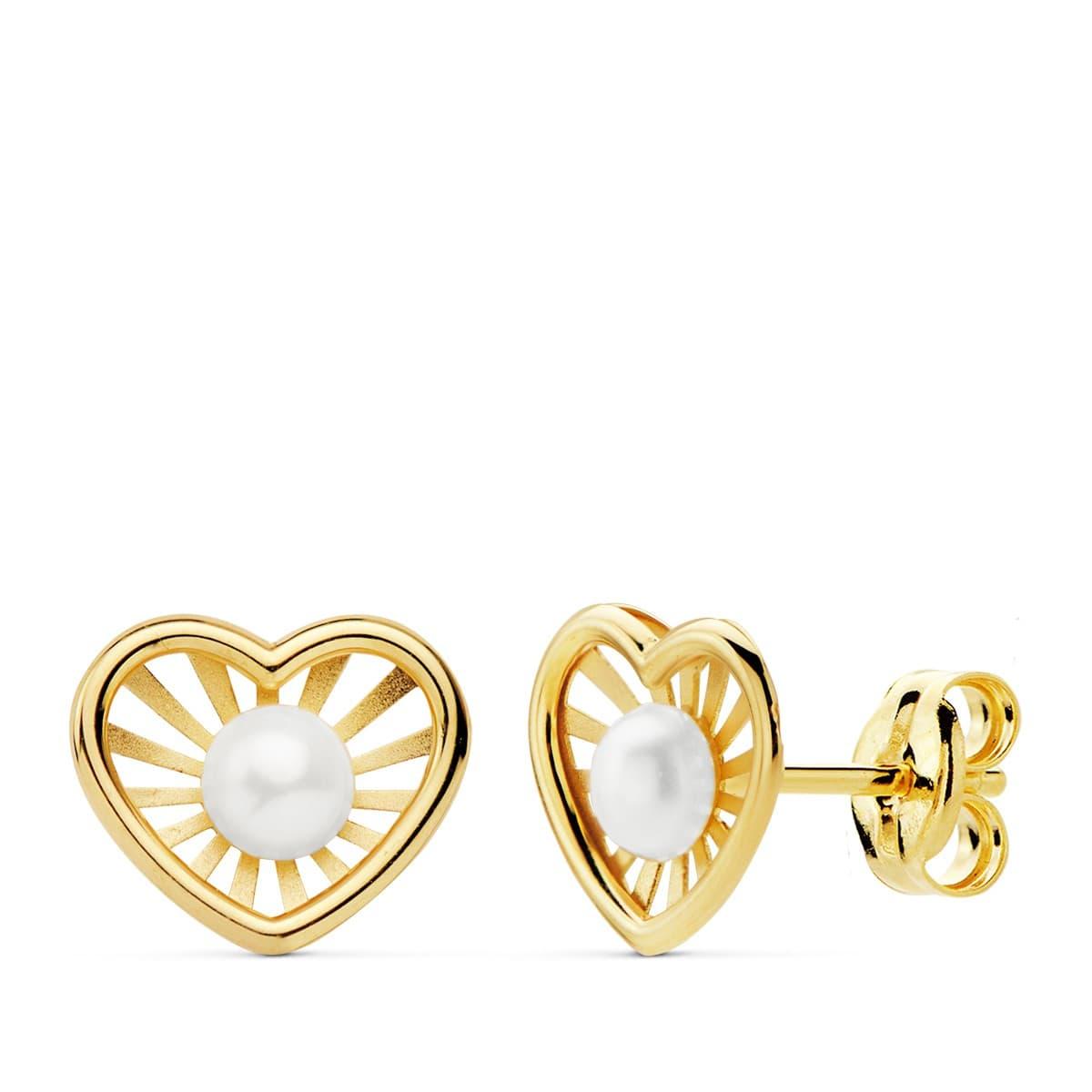 c77c7edd773f Pendientes modernos niña 1ª Comunión Chloe Oro 18K Corazón conjunto joyas  juego perlas baratos