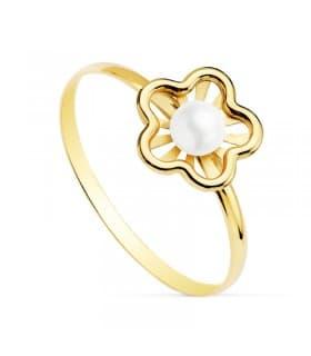 Sortija niña 1ª Comunión Chloe Oro 18K Flor conjunto joyas juego anillo moderno perla barato