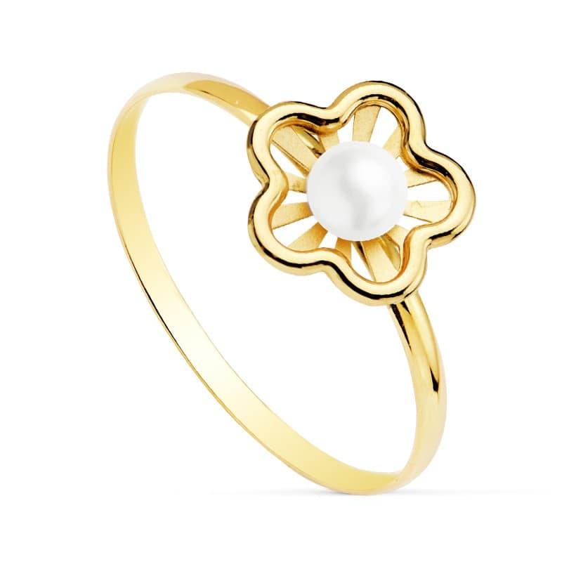 e036a34bc93f Sortija niña 1ª Comunión Chloe Oro 18K Flor conjunto joyas juego anillo  moderno perla barato