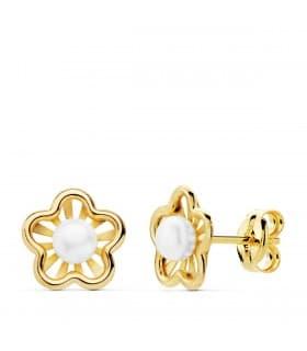 Pendientes niña 1ª Comunión Chloe Oro 18K Flor conjunto joyas juego perla baratos cierre presion