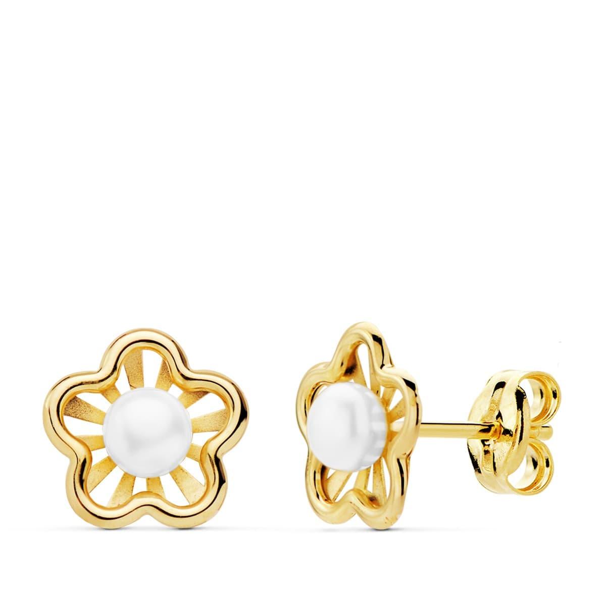 fdab2235f7d4 Pendientes niña 1ª Comunión Chloe Oro 18K Flor conjunto joyas juego perla  baratos cierre presion