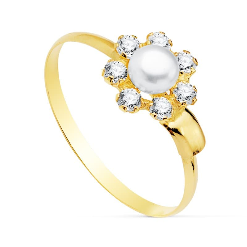 307ff8b54e86 Sortija niña Primera Comunión Nicoletta Oro 18K Conjunto joyas juego Perlas  pendientes modernos