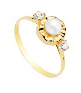 Sortija niña Comunión Manuela Oro 18K Conjunto juego anillo Perla clasico barato