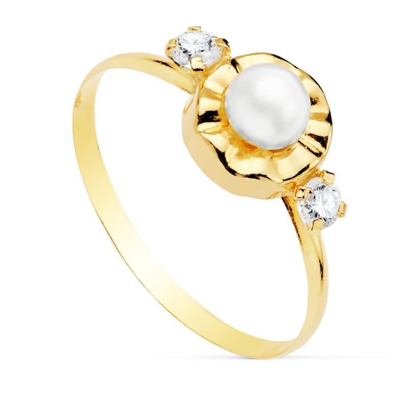 b8e8954e1ace Sortija niña Comunión Manuela Oro 18K Conjunto juego anillo Perla clasico  barato