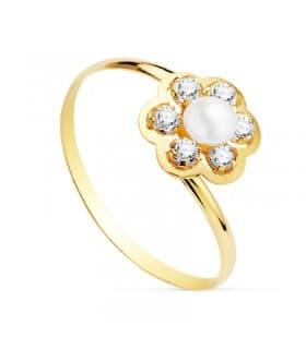 Sortija niña Comunión Camila Oro 18K Perla joyas juego conjunto anillo flor