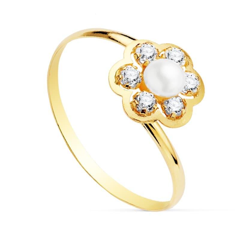 5129f09fff42 Sortija niña Comunión Camila Oro 18K Perla joyas juego conjunto anillo flor