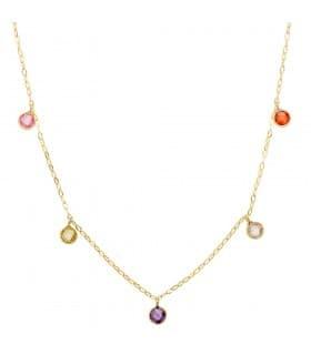 Collar Mujer Mix Color gemas colores piedras rosa turquesa verde amatista colgantes oro amarillo invitada de boda