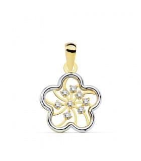 Colgante Mujer Flori Oro Bicolor 18K 13 MM joyas modernas para mujer colgante collar primavera