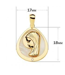 Medalla católica Comunión Oro 18K Virgen niña Nácar Gota joya personalizada colgante regalo