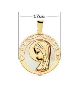Medalla religiosa Comunión Oro 18K Virgen niña Nácar Estrellas regalo joya personalizada