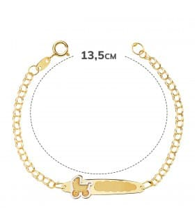 Esclava Bebé Oro Bicolor 18K Cochecito 13.5 cm regalo bautizo joya personalizada