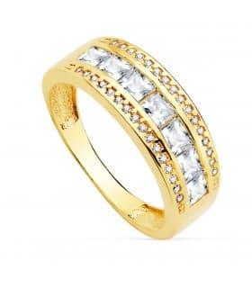 Sortija mujer Oro Amarillo 18K Ruth anillo bandas gemas circonitas