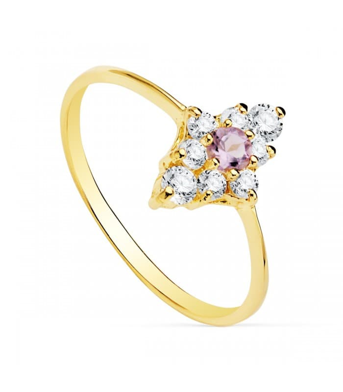 Anillo moderno mujer Oro Amarillo 18K sortija Rombo gemas piedras Amatista minimal casual