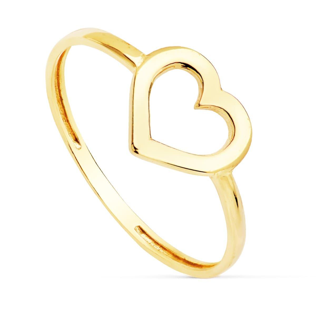 ed0c1f622709 Anillo mujer Oro Amarillo 18K Corazon Lucy sortija slim minimal moda ...