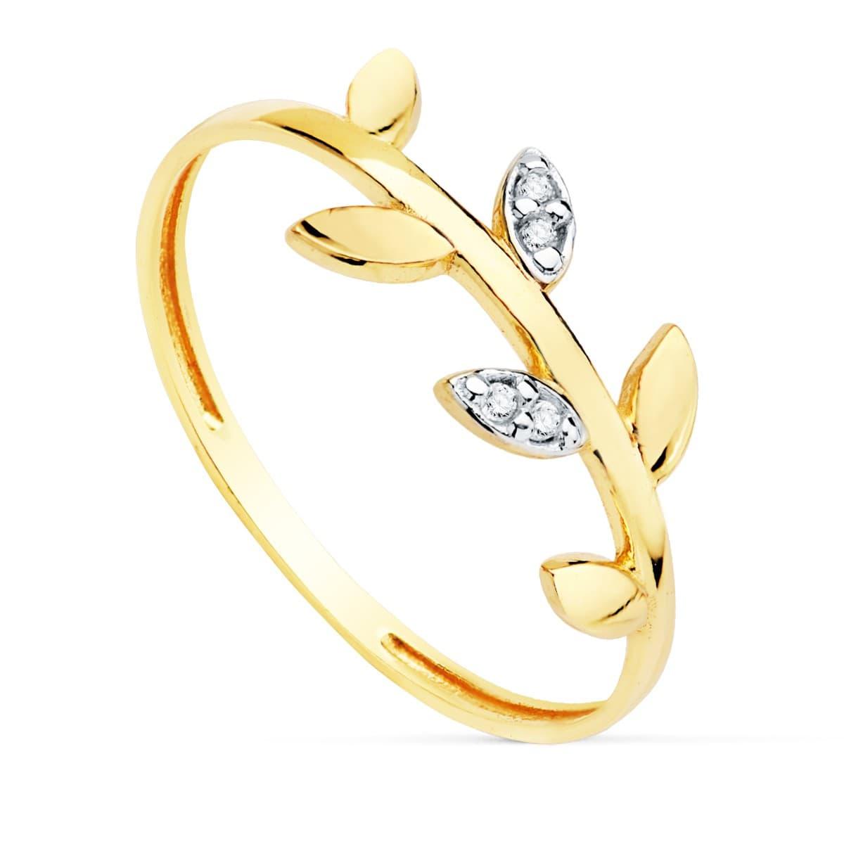 35f1d3a45a52 Anillo mujer Oro Bicolor 18K Branch Sortija rama hojas moda gemas piedras  estilo minimal casual ...