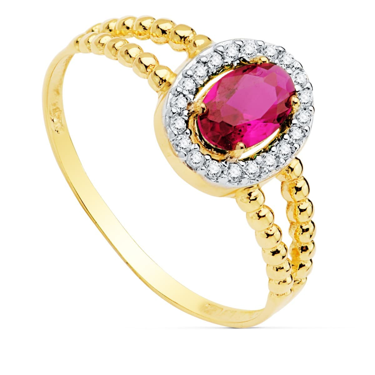 baf961d9e78c Sortija mujer Oro Amarillo 18K Orión Piedra Rosa anillo bolitas ...