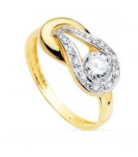 Sortija mujer Oro Bicolor 18K Urano anillo piedras