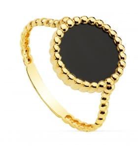 Anillo mujer Oro Amarillo 18K Black Caviar Dot sortija piedra color onix