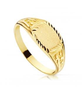 Sello cadete Filippo Oro Amarillo 18K regalo anillo comunión niño joya personalizada grabado