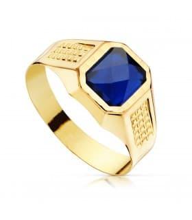 Sello cadete Liam Oro Amarillo 18K Piedra Azul anillo comunión niño joya personalizable grabado gratuito