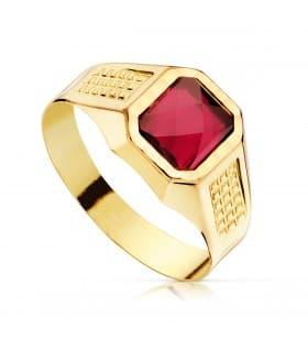 Sello cadete Liam Oro Amarillo 18K Piedra Roja anillo comunión niño regalo joya personalizable grabado gratuito
