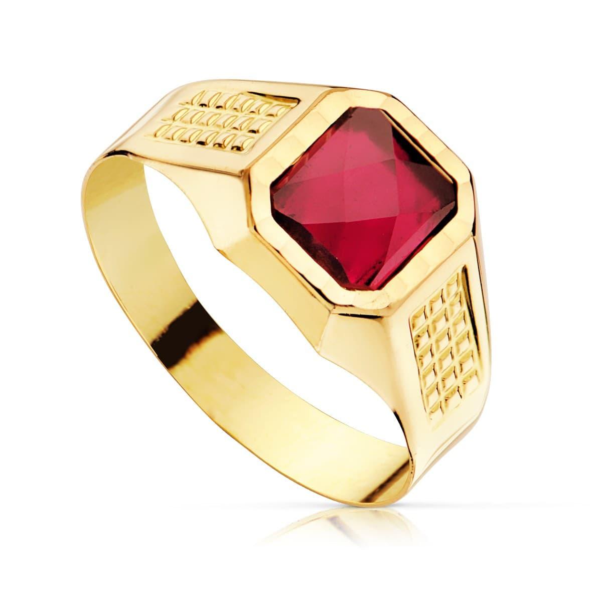 dc7aa9f4695c Sello cadete Liam Oro Amarillo 18K Piedra Roja anillo comunión niño regalo  joya personalizable grabado gratuito