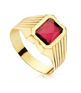 Sello cadete Oliver Oro Amarillo 18K Piedra Roja anillo comunión para niño regalo moderno grabado gratuito