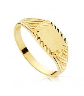 Sello cadete Ulises Oro Amarillo 18K anillo niño joya personalizable grabado