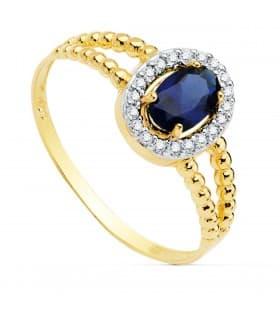 Sortija mujer Oro Amarillo 18K Orión Piedra Azul anillo bolitas
