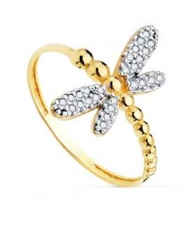 Anillo mujer Dragon-Fly Oro Amarillo 18K sortija mariposa verano invitada de boda
