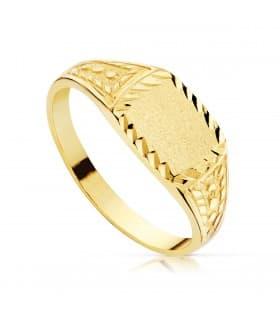 Sello cadete Unai Oro Amarillo 18K anillo niño comunion joya personalizada grabado