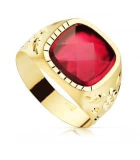 Sello Caballero Gerónimo Oro Amarillo 18K Espinela Roja anillo hombre