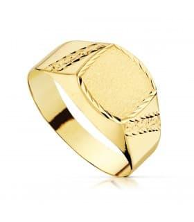 Sello cadete Zyan Oro Amarillo 18K anillo niño comunion grabado
