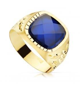 Sello Caballero Gerónimo Oro Amarillo 18K Espinela Azul anillo hombre