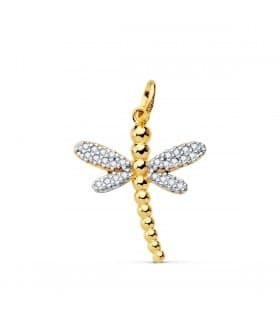 Colgante Dragon-Fly Oro Amarillo 18K collar libelula joyas verano complementos