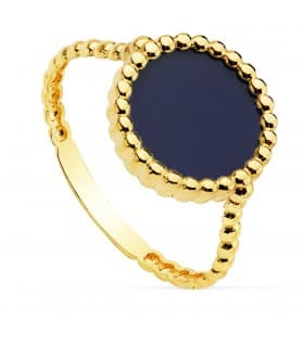 Anillo mujer Oro Amarillo 18K sortija piedra color azul marino lapislazuli