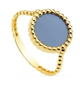 Anillo mujer Oro Amarillo 18K Dot sortija piedra azul claro color