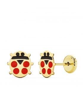 Pendientes Oro Amarillo 18K Ladybug 8 mm. Pendiente de niña mariquita.