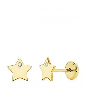Pendientes Niña Oro 18K Moana Estrella Line 6 mm. Pendientes estrella niña cierre rosca.