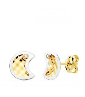 4372d45f53d3 Pendientes Oro Bicolor 18K Moon 8 mm