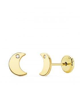 Pendientes Niña Oro 18K Moana Luna Line 6 mm. Pendientes oro amarillo niña luna con circonita