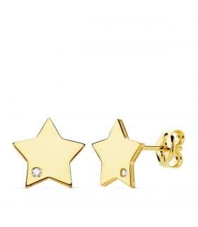 Pendientes Space Oro Amarillo 18K Estrella 8 mm. Pendientes niña de estrella con circonita