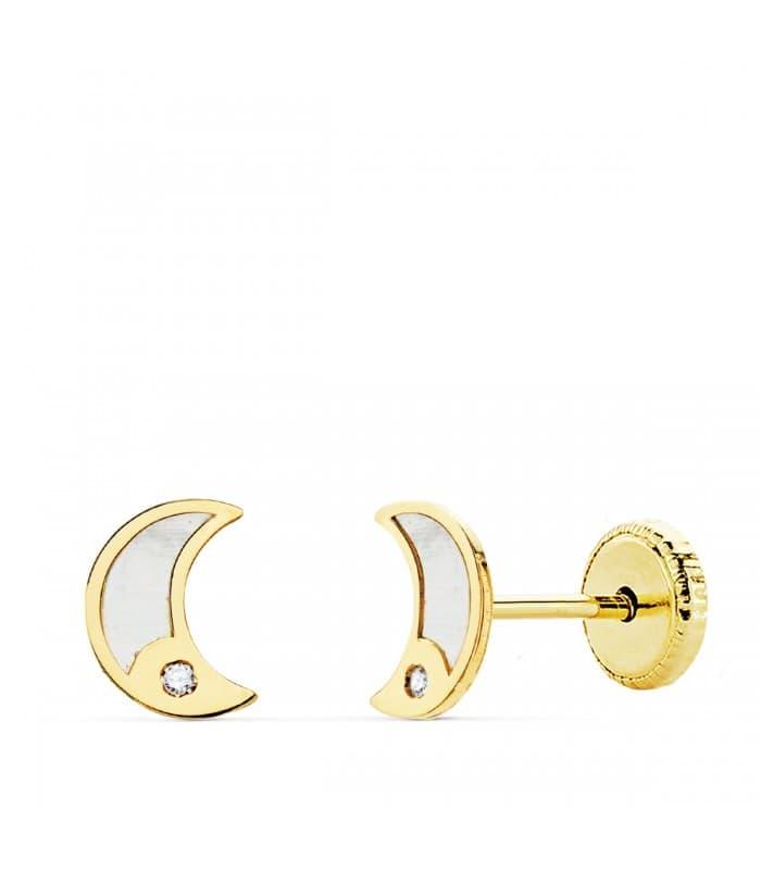 Pendientes Niña Oro 18K Moana Luna 6 mm. Pendientes para niña en oro amarillo. Regalo especial