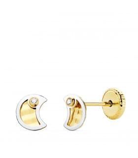 Pendientes Bebé Nalia Oro Bicolor 18K Luna 5mm. Pendientes para bebé. Ideales para regalar. Cierre a presión. Regalo bautizo.