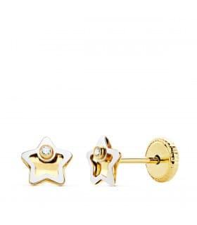 Pendientes Bebé Iria Oro Bicolor 18K estrella 5mm. Pendientes para bebé. Ideales para regalar. Cierre a presión