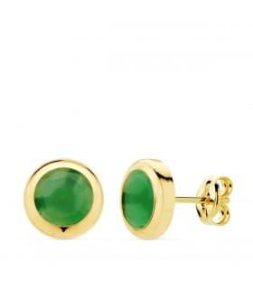 Pendientes Oro Amarillo Lilo Piedra Verde 18K