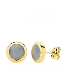 Pendientes Oro Amarillo 18K Lilo Piedra Azul gemas color chatón invitada de boda